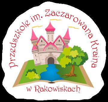 Logotyp przedszkola zawierający przedstawienie pałacu oraz otwartej książkiz rzeką i zielenią oraz napis Przedszkole im. Zaczarowana Kraina w Rakowiskach