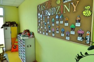 """Wnetrze sali pzredstawiające wiszącą tablicę z napisem """"nasze urodziny"""" oraz zdjęciami dzieci. W tle półki z materiałami dydaktycznymi"""