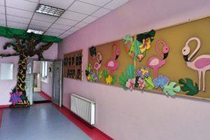 """Większy kard ujęcia przedścia pomiedzy wewnetrznymi korytarzami ozdobione wizerunkiem drzewa. Widoczna nablica z napisem """"Koło plastyczne"""" oraz dwie inne yablice ozdobione flamingami i motywami roślinnymi"""