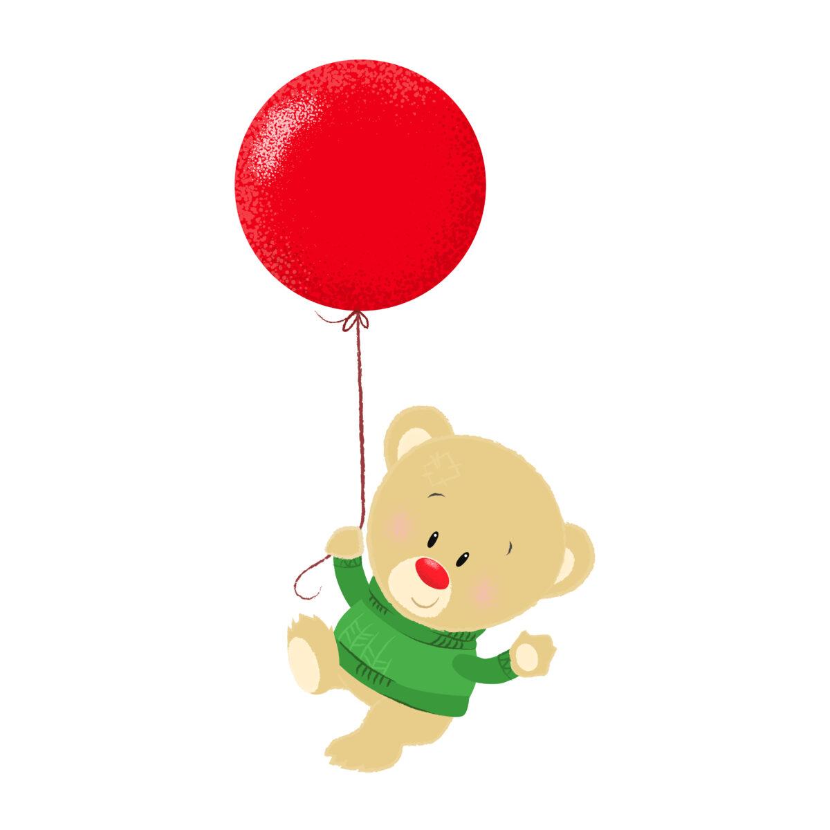Miś tańczy z balonikiem