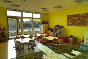 Wnetrze sali przedszkolenj. Na pierwszym planie dywan, w środku stoliki dla dzieci, w tle okno z widokiem na plac zabaw.